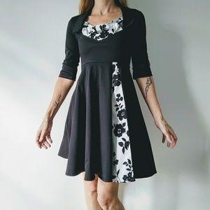 Nadasha black & white A- line dress